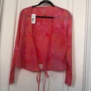Outdoor Voices tissue weave wrap pink tie dye